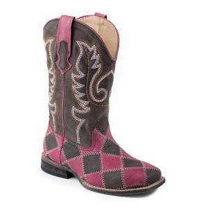 Roper Suede Leather Patchwork Boots - Kids, Pink