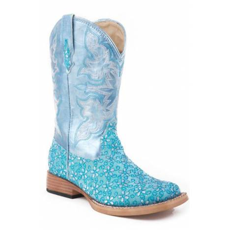 Roper Faux Leather Glitter Floral Print Boots - Kids, Green