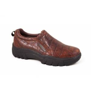 Roper Leather Faux Croc Print Slip On Shoes - Mens, Brown