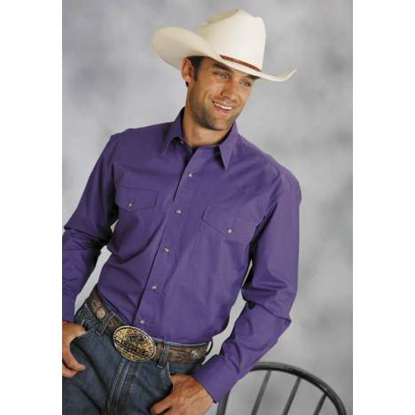 Roper Poplin Shirt - Mens, Long Sleeve, Purple
