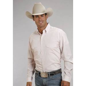 Stetson Cotton Shirt - Mens, Long Sleeve, Pink Check