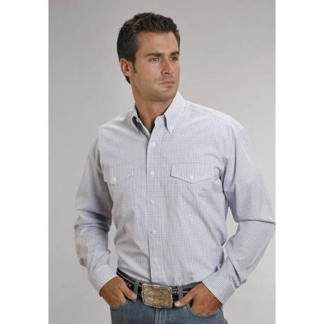 Stetson Cotton Shirt - Mens, Long Sleeve, Blue Check