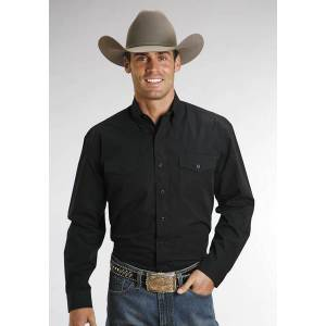Stetson Cotton Shirt - Mens, Long Sleeve, Black