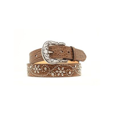 Ariat Croc Prnt Crystal Flower Belt - Ladies, Brown