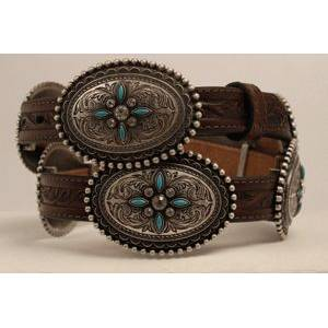 Ariat Oval Concho Turquoise Stone Belt - Ladies, Brown