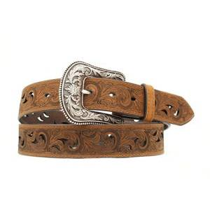 Ariat Scroll Paisley Pierced Belt - Ladies, Brown