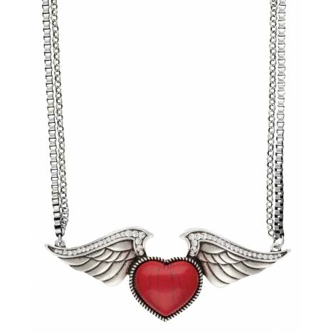 Rock 47 Tattoo Art Stone Heart on Wings Necklace
