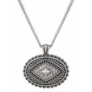 Rock 47 Points of Aztec Silver-tone Pyramid View Necklace