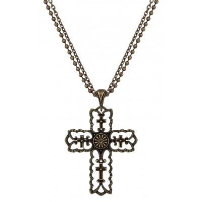 Rock 47 Vintage Kitsch Bronze-Tone Scalloped Cross Necklace