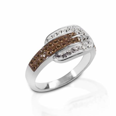Kelly Herd Swarovski Crystal Buckle Ring - Sterling Silver
