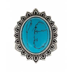 Rock 47 Vintage Kitsch Blue Sunflower Fashion Ring