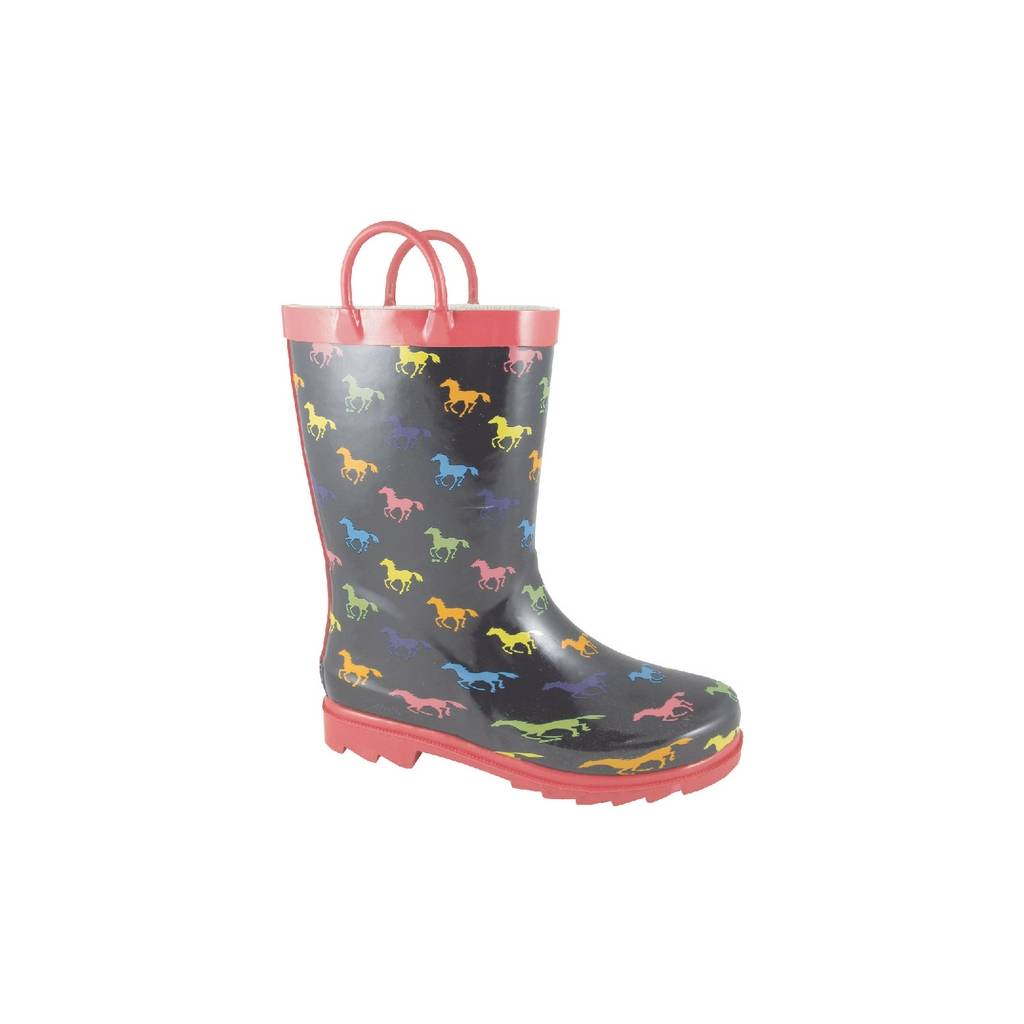 Smoky Boots Ponies Rubber Boots - Kids, Black/Multi