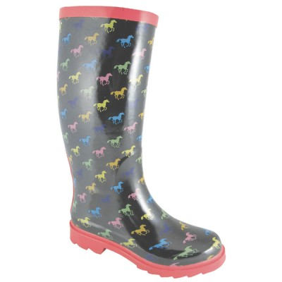 Smoky Boots Ponies Rubber Boots - Ladies, Black/Multi