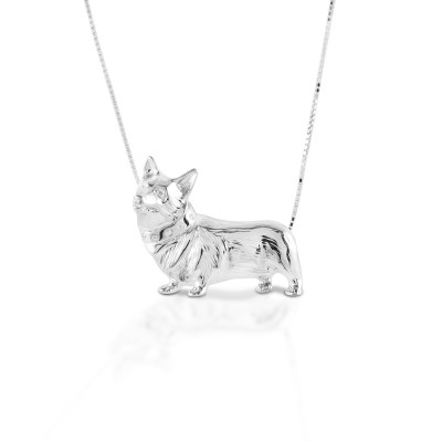 Kelly Herd Large Corgi Necklace - Sterling Silver