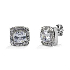 Kelly Herd Square Bezel Set Pave Earrings - Sterling Silver