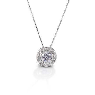 Kelly Herd Round Bezel Set Pave Necklace - Sterling Silver